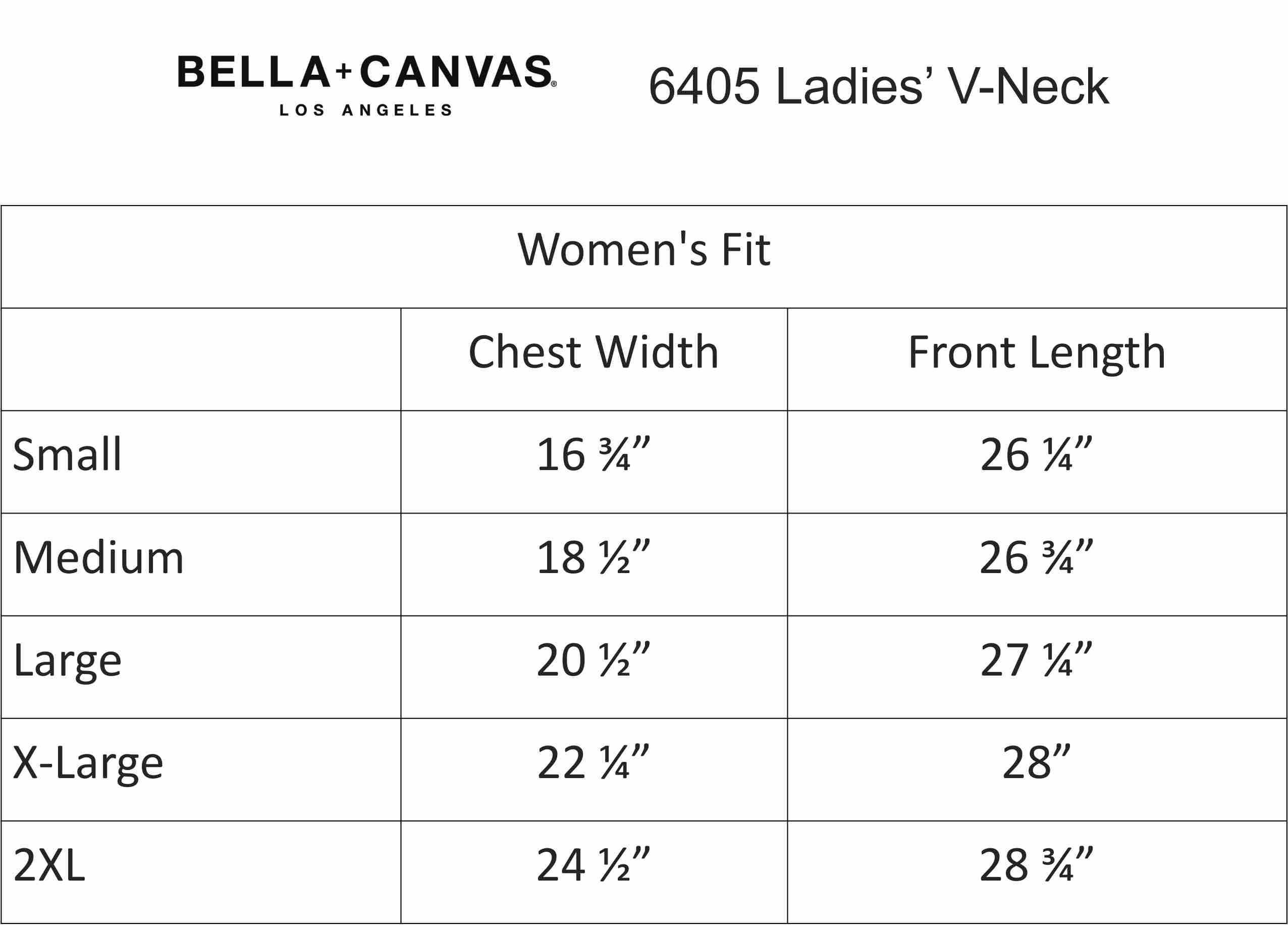 Image result for bella canvas 6405 size chart