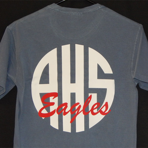 2015 Ahs With Eagles Circle Monogram Comfort Colors Pocket T Shirt